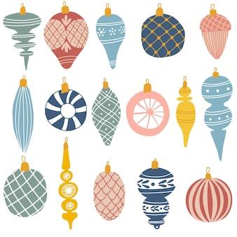 Conjunto de coloridos adornos navideños en estilo dibujado a mano ilustración vectorial
