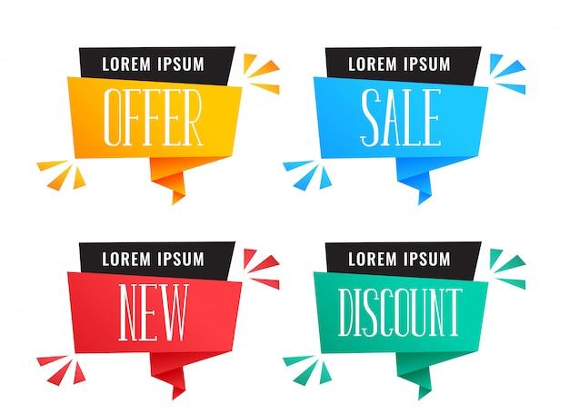 Conjunto de coloridos banners de descuento y venta