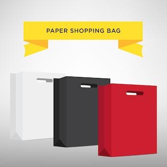 Conjunto de coloridos bolsos de compras vacíos aislados en blanco. ilustración vectorial
