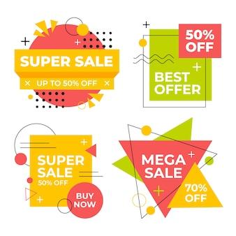 Conjunto de coloridos carteles de ventas