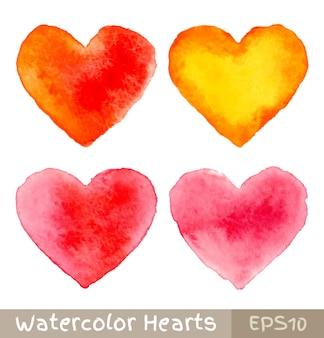 Conjunto de coloridos corazones de acuarela, ilustración vectorial