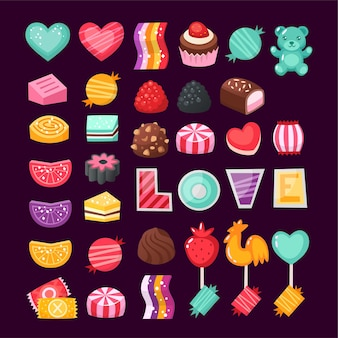 Conjunto de coloridos dulces de san valentín