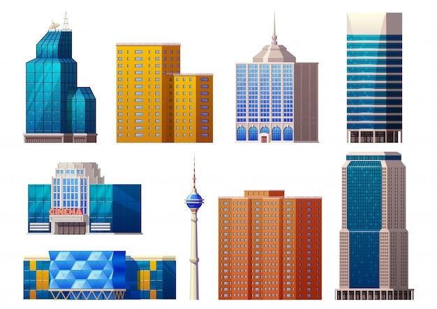 Conjunto de coloridos edificios modernos
