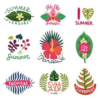 Conjunto de coloridos emblemas de verano con diferentes plantas tropicales