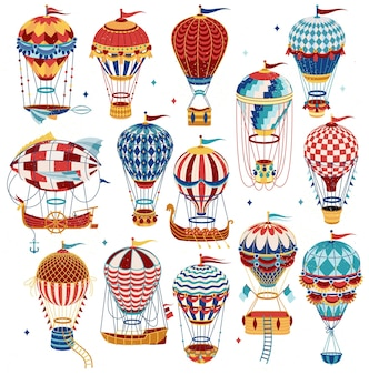 Conjunto de coloridos globos aerostáticos aislados sobre fondo blanco.