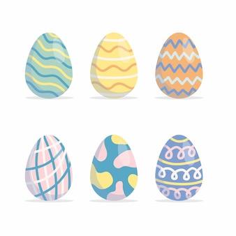 Conjunto de coloridos huevos de pascua aislado