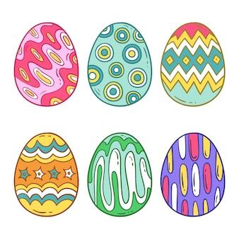 Conjunto de coloridos huevos de pascua dibujados a mano
