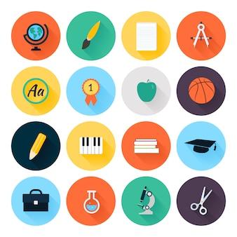 Conjunto de coloridos iconos de escuela y educación planas