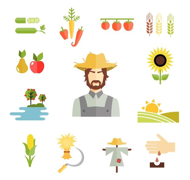 Conjunto de coloridos iconos de granja de vectores para cultivar granos, frutas y verduras con un agricultor