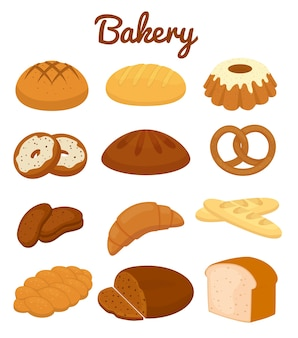 Conjunto de coloridos iconos de panadería que representan pretzels muffins hogazas de pan