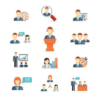 Conjunto de coloridos iconos vectoriales de personas de negocios que muestran análisis de trabajo en equipo de discusión de reuniones en línea globales de presentación de destino de capacitación y gráficos aislados en blanco