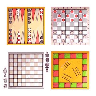 Conjunto de coloridos juegos de mesa