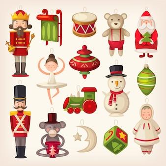 Conjunto de coloridos juguetes de árbol de navidad de madera retro