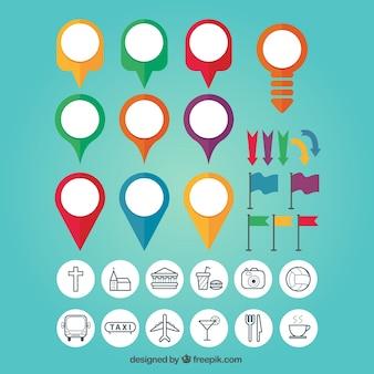 Conjunto de coloridos marcadores de mapa