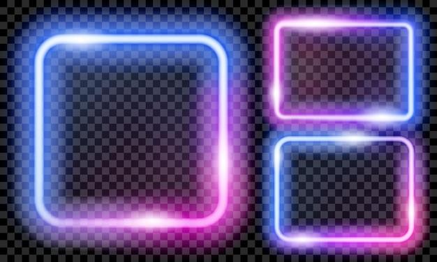 Conjunto de coloridos marcos de neón translúcido en colores azul y morado sobre fondo transparente. transparencia solo en formato vectorial