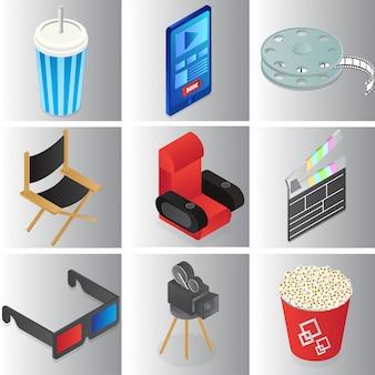 Conjunto de coloridos objetos de cine o película en estilo 3d.