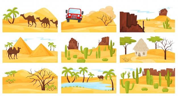 Conjunto de coloridos paisajes desérticos con camellos, montañas rocosas, pirámides y automóviles. diseño plano