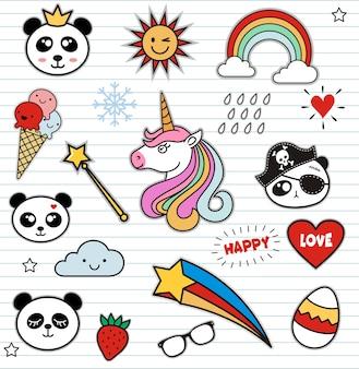 Conjunto de coloridos panda doodle sobre papel