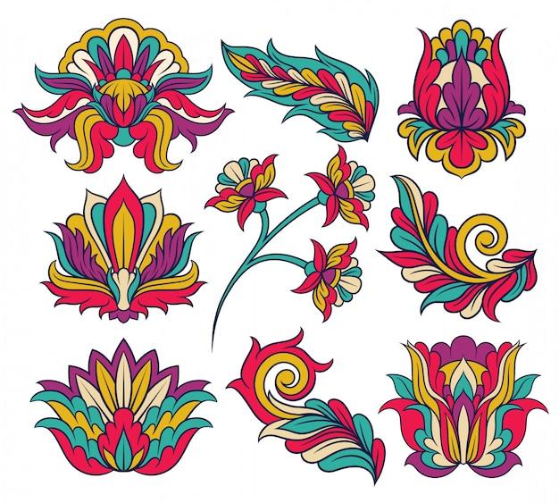 Conjunto de coloridos patrones indios. adornos decorativos originales en estilo lineal. diseño abstracto