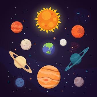 Conjunto de coloridos planetas brillantes. sistema solar, espacio con estrellas. ilustración de dibujos animados lindo
