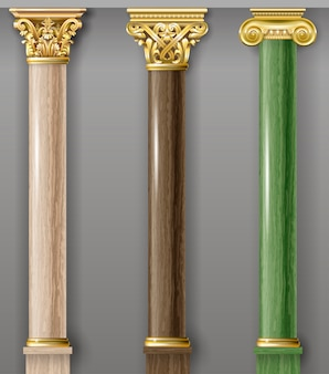 Conjunto de columnas clásicas de oro y mármol.