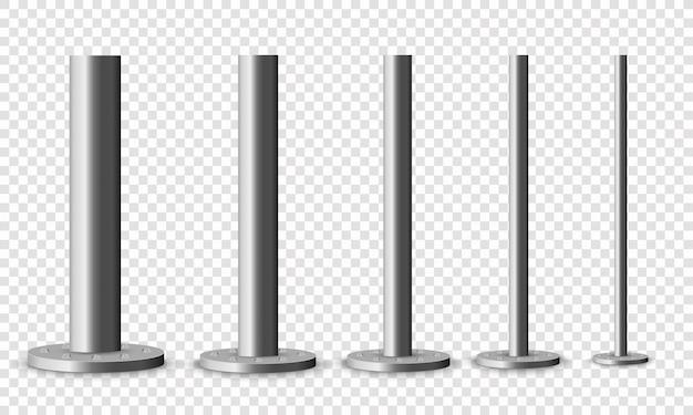 Conjunto de columnas metálicas. postes metálicos de poste, tubos de acero de varios diámetros instalados están atornillados en una base redonda aislada sobre un fondo transparente. el elemento de acero de la viga de celosía.