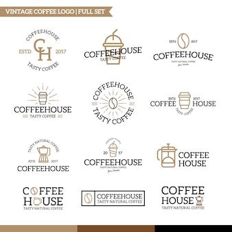 Conjunto de combinación de logo de café y té.