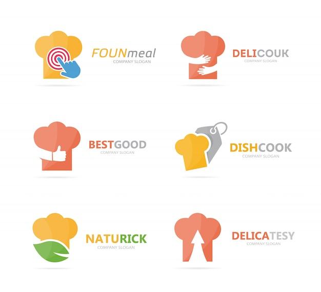 Conjunto de combinación de logo de sombrero de chef. plantilla de diseño de logotipo de cocina y cocina.