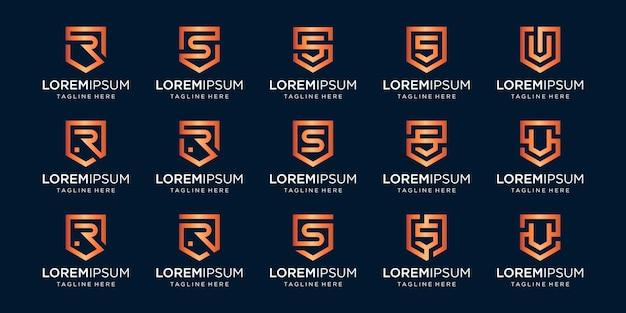 Conjunto de combinación de signo de escudo y monograma de letra rsv.