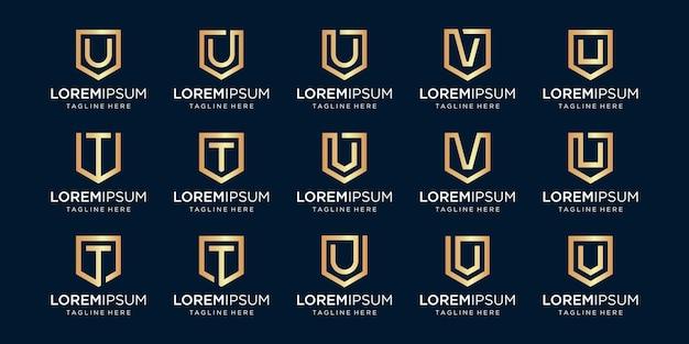 Conjunto de combinación de signo de escudo y monograma de letra utv.