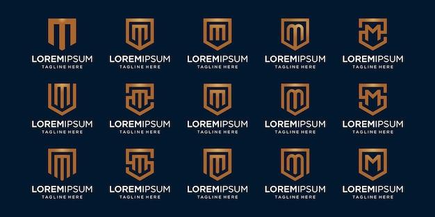 Conjunto de combinación de signo de monograma y escudo de letra m.