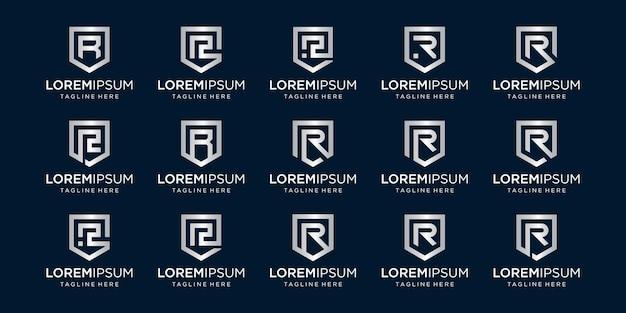 Conjunto de combinación de signo de monograma y escudo de letra r.