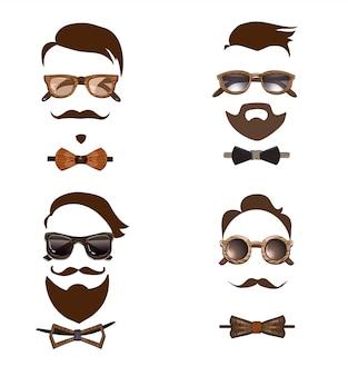 Conjunto de combinaciones de atuendos hipster