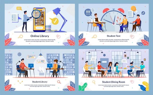 Conjunto de comedor para estudiantes, biblioteca en línea, diapositiva.