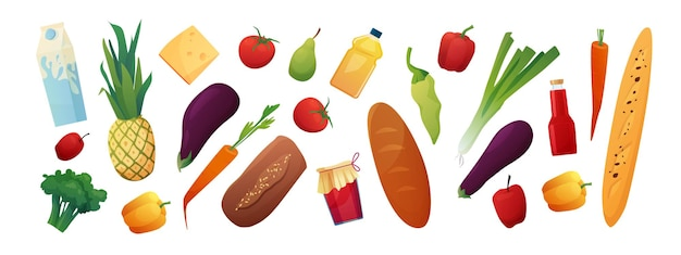 Conjunto de comestibles. productos de supermercado aislados.