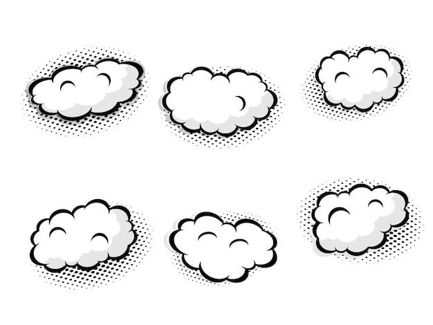 Conjunto de cómic en blanco discurso burbuja