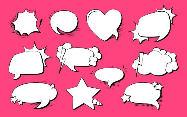 Conjunto de cómic pop art de burbujas de discurso, explosión. fondo de punto de semitono de elementos de diseño vacío retro de los años 80-90