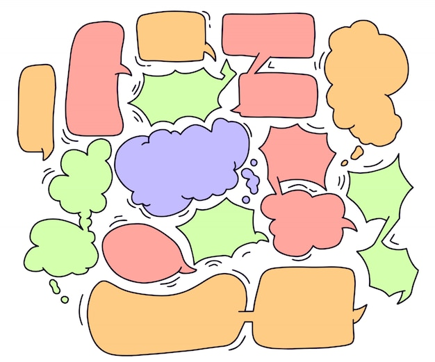 Conjunto de cómic de texto de chat de burbuja