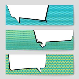 Conjunto cómico de la bandera del espacio en blanco del estilo del arte pop.