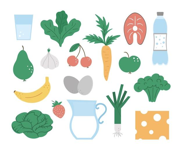 Conjunto de comida y bebida saludables. verduras, productos lácteos, frutas, bayas, pescado.