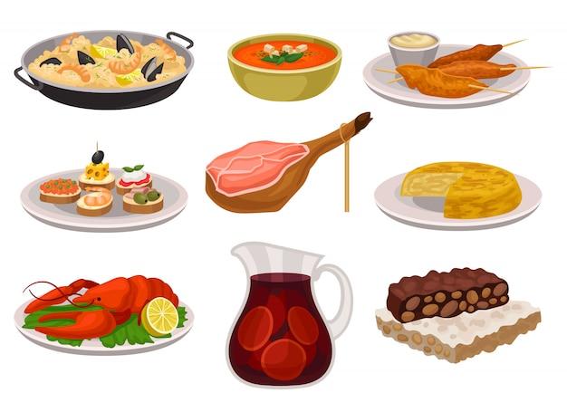 Conjunto de comida y bebida tradicional española. paella, refrescante sopa de gazpacho, pollo a la parrilla con salsa, sangría en frasco de vidrio. comida apetitosa.