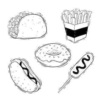 Conjunto de comida chatarra con estilo doodle o dibujo a mano sobre fondo blanco.