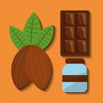 Conjunto de comida de chocolate