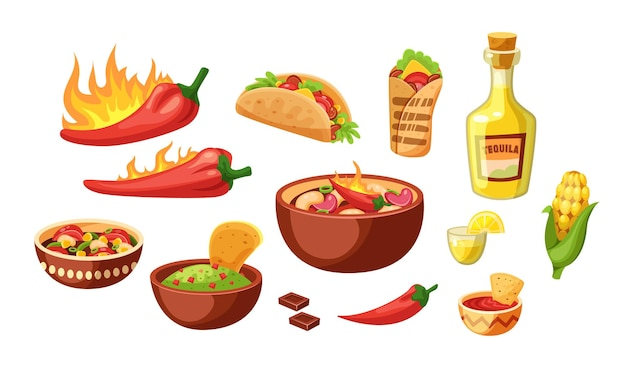 Conjunto de comida de cocina tradicional mexicana.