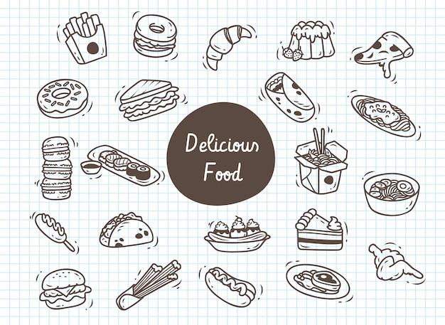 Conjunto de comida deliciosa doodle