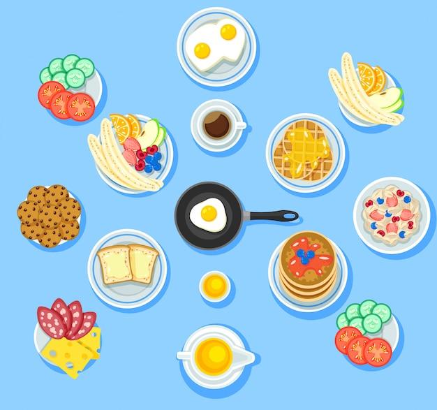 Conjunto de comida de desayuno tradicional