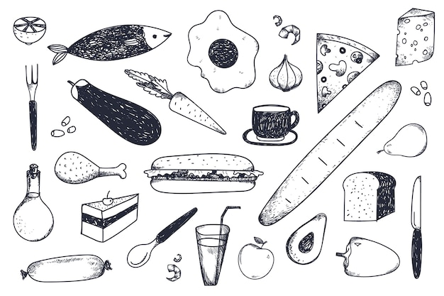 Conjunto de comida dibujada a mano.