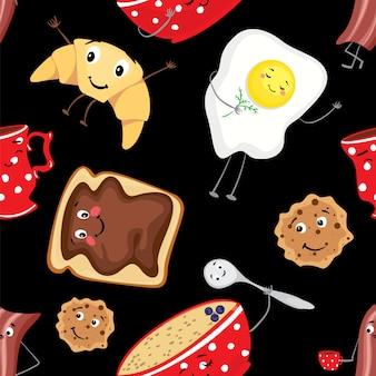 Conjunto de comida divertida, desayuno en forma de personajes.
