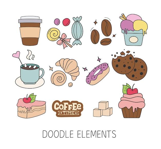 Conjunto de comida de dulces de doodle en blanco tortas galletas para hornear galletas pasteles donut helado