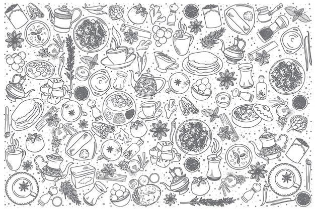 Conjunto de comida india dibujada a mano